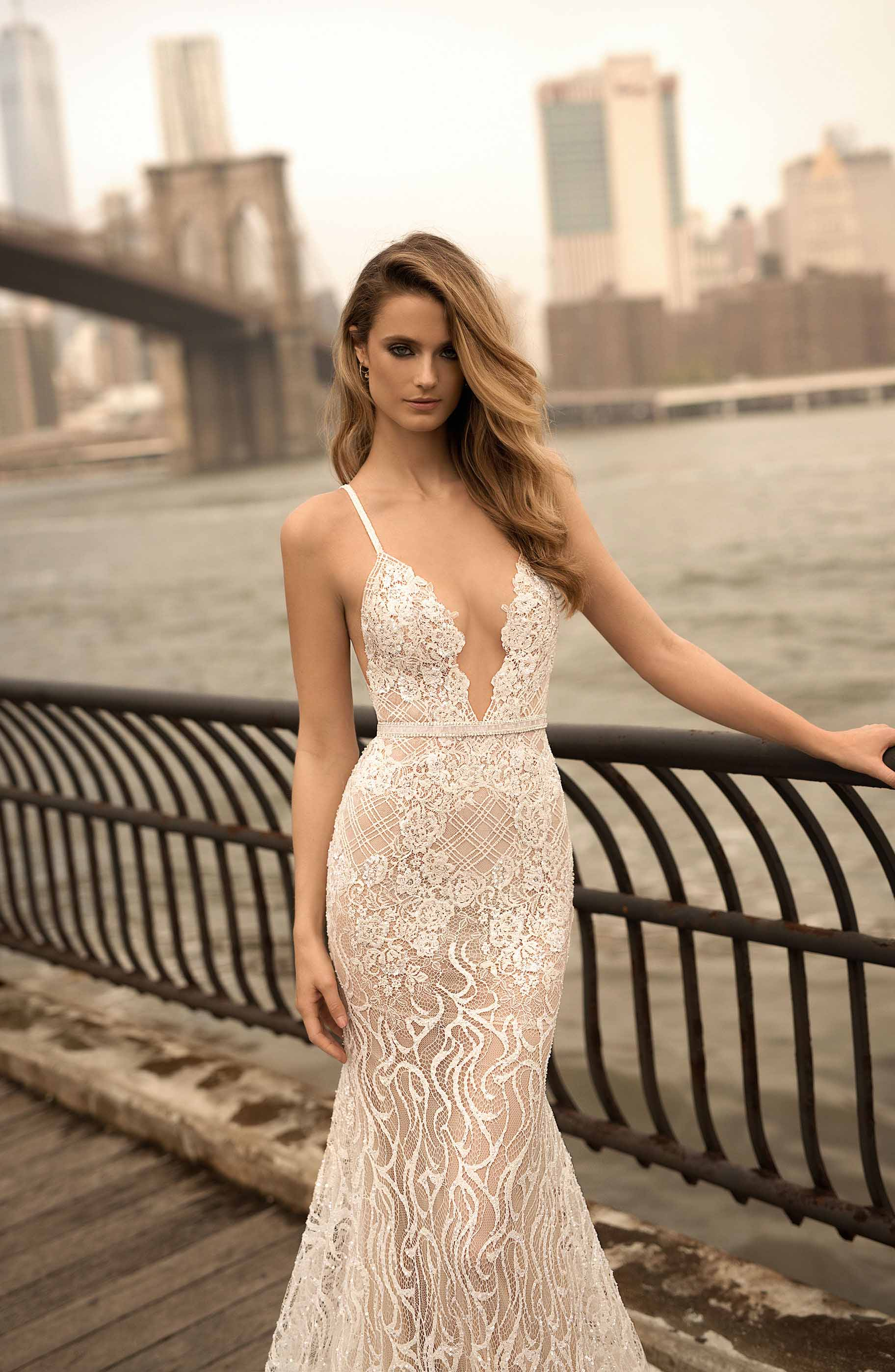 berta spring 2018 bridal sleeveless deep plunging v neck full embellishment sexy a  line wedding dress open back sweep train (14) mv