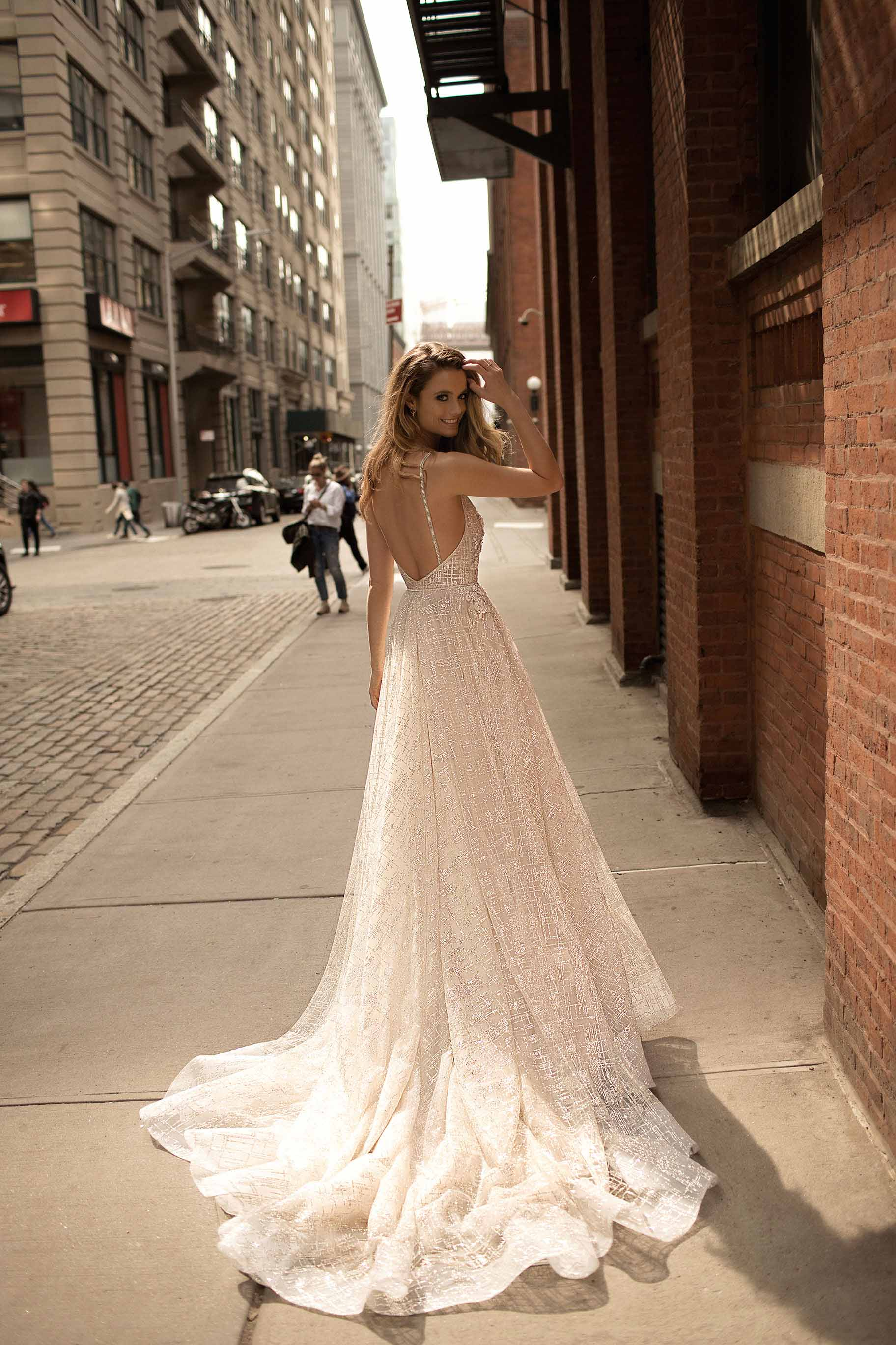 berta spring 2018 bridal strapless deep plunging sweetheart neckline full embellishment sexy romantic peplum a  line wedding dress open back chapel train (9) bv