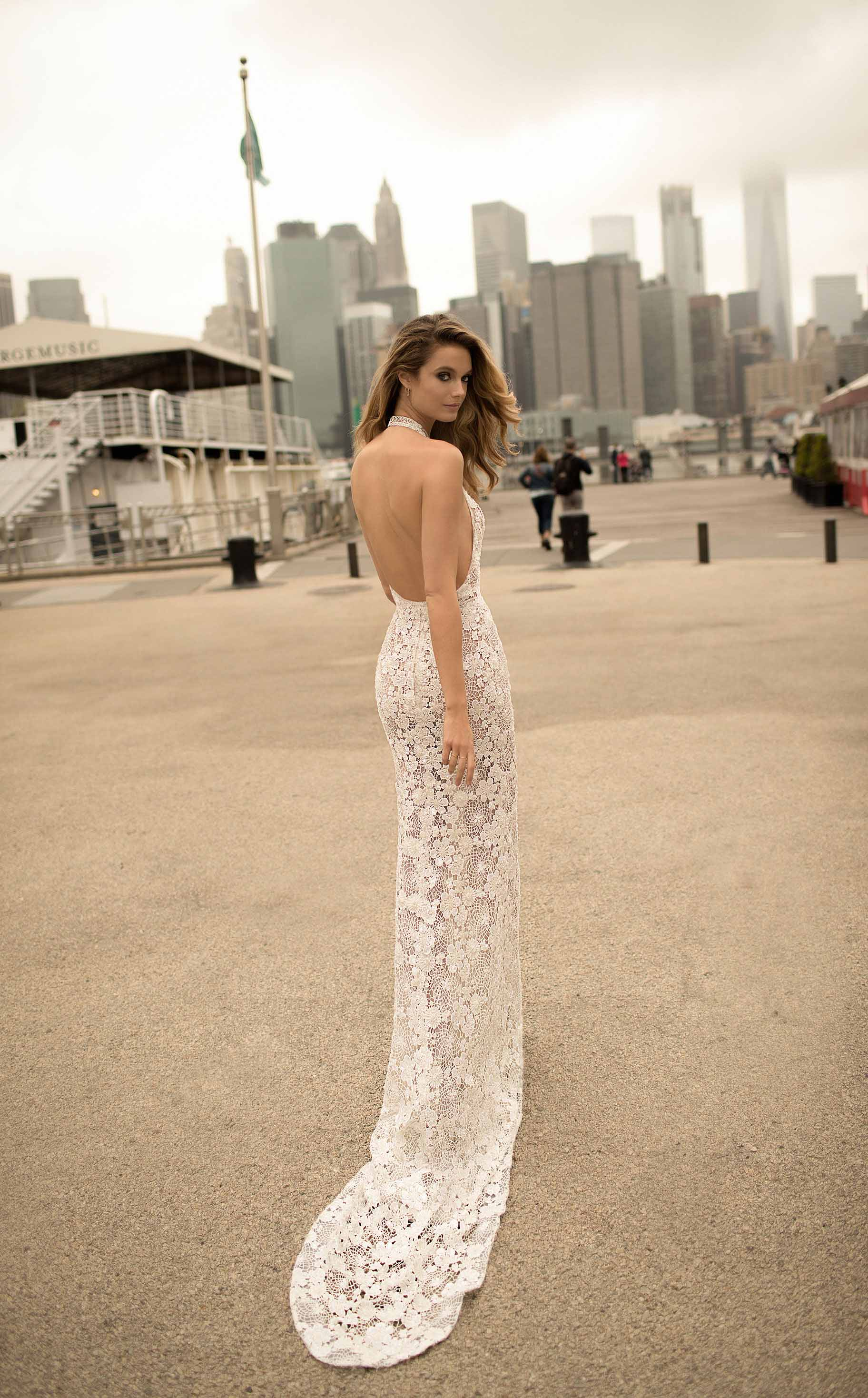 berta spring 2018 bridal spaghetti strap deep plunging v neck full embellishment sexy romantic a  line wedding dress open back chapel train (1) mv